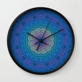 Rainbow Mandala - Classic Blue Palette Wall Clock