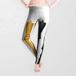Check Mate / Black / Gold Chess Pieces Leggings