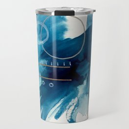 Beneath the Waves Series 2 - a blue and gold abstract mixed media set Travel Mug