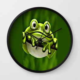 Adorable Funny Cute Green Frog In Tree Wall Clock