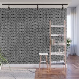 Isometric Weaved Cubes in Black and White Pattern - Graphic Design Wall Mural