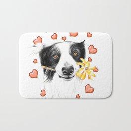 Border Collie And Hearts Bath Mat