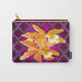 Golden Cattleleya Orchids Puce-Purple-Grey Pattern Art Carry-All Pouch