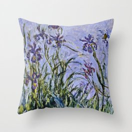Claude Monet  -  Iris Mauves Throw Pillow