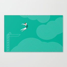 diver girl jumping into the clouds Canvas Print