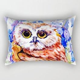 Owl Who Loves Bluebell Flowers, Owl art, Bright colored Owl design Rectangular Pillow