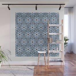 Symmetrical Flower Pattern in Blue Wall Mural