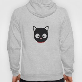 Cute black cat with red collar Hoody