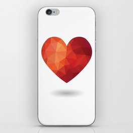 Low poly red heart iPhone Skin