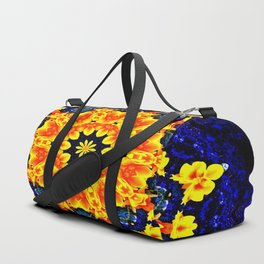 Yellow Orange Floral Madala  Background Dark Blue Duffle Bag