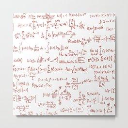 Red Math Equations Metal Print