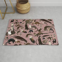 Otters of the World pattern in pink Rug