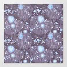 Whimsical garden in grey and blue Canvas Print