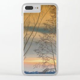 Evening sun over a lake Clear iPhone Case