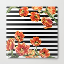 Red Orange Tulips Black Stripes Chic Metal Print