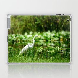 Great Egret in a Green Field Laptop & iPad Skin
