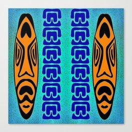 Tiki Blue Orange Canvas Print