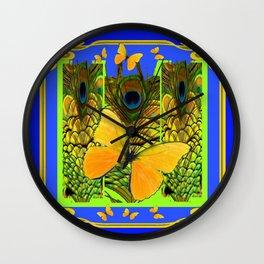 BLUE ART NOUVEAU YELLOW BUTTERFLIES GREEN ART Wall Clock