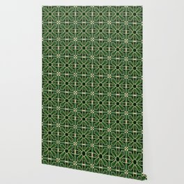 Art Deco Floral Tiles in Emerald Green and Faux Gold Wallpaper