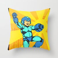 mega man Throw Pillows featuring Mega Man by Ramon Villalobos