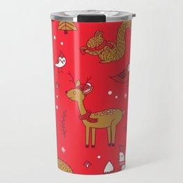 Winter Woodlands - Red Travel Mug