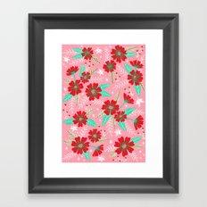 Floral Moths - Pink Framed Art Print