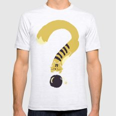 Question Mark (Curiosity Kills The Cat) Mens Fitted Tee Ash Grey SMALL