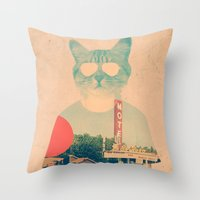 brown Throw Pillows featuring Cool Cat by Ali GULEC
