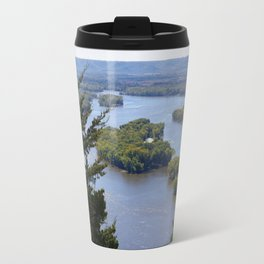 Upper Mississippi River, looking downriver from Buena Vista Park, Alma, WI Travel Mug