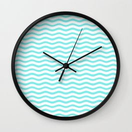 Classic Aqua and White Chevron Wave Wavy ZigZag Stripes Wall Clock