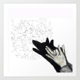 Howling at cosmos Art Print