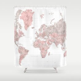 "Highly detailed world map in dusty pink and grey watercolor, ""Piper"" Shower Curtain"