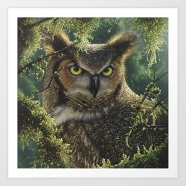 Great Horned Owl - Watching and Waiting Art Print