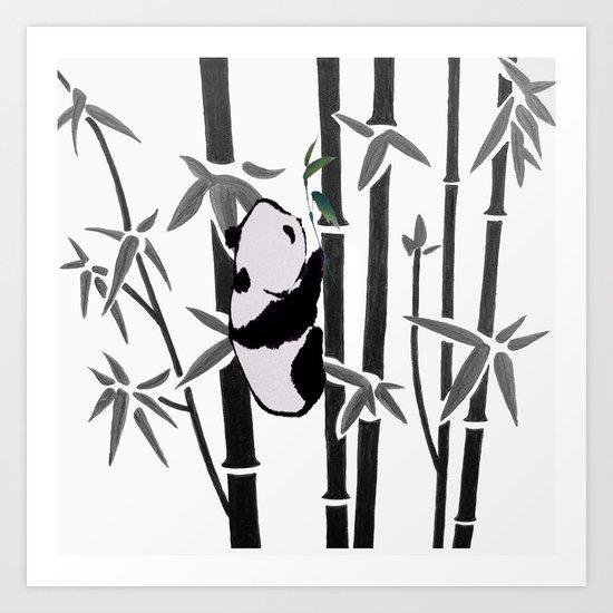 Panda bamboo feeding Art Print