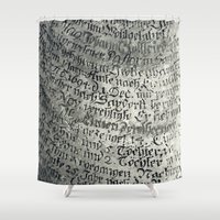 writing Shower Curtains featuring ancient writing by Falko Follert Art-FF77