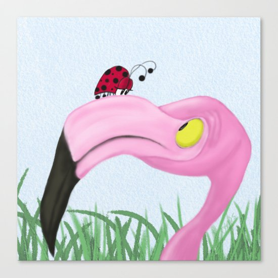 Fiona The Flamingo And Her Visitor Canvas Print