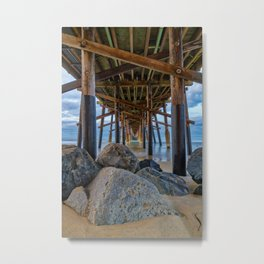 The Rocks Under Newport Pier Metal Print