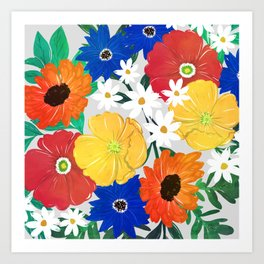 Colorful Spring Floral Hand Paint Girly Design Art Print