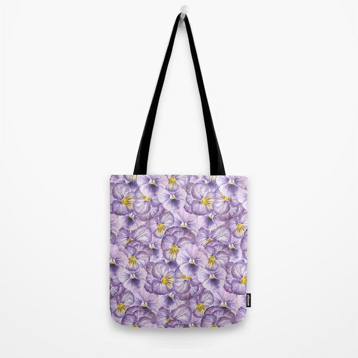 Watercolor floral pattern with violet pansies Tote Bag