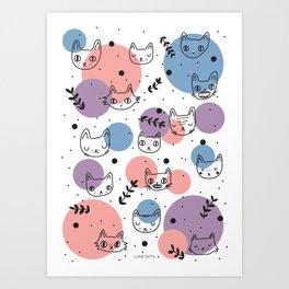 Kitty Faces Art Print