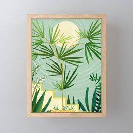 Summer Moon / Tropical Garden Illustration Framed Mini Art Print