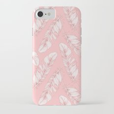 White feathers on a pink background iPhone 7 Slim Case