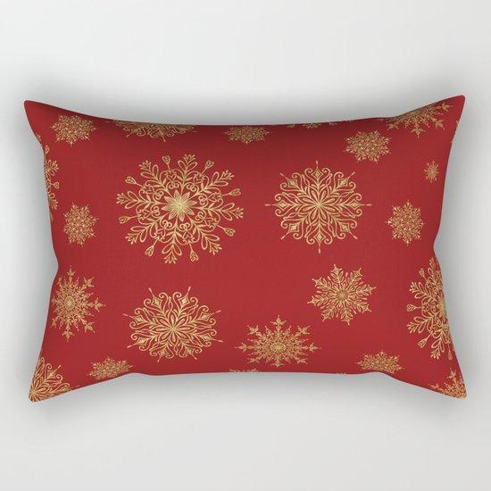 Assorted Golden Snowflakes Rectangular Pillow