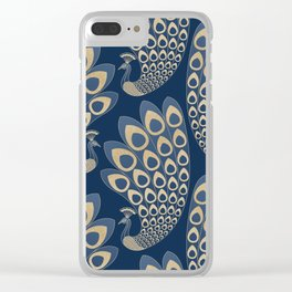 Blue and Gold Art Deco Peakock Clear iPhone Case