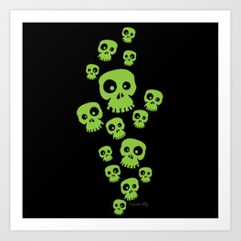 Skulls - Fun - green/black Art Print