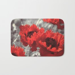 Big Red Watercolor Poppies on Grey Background Bath Mat