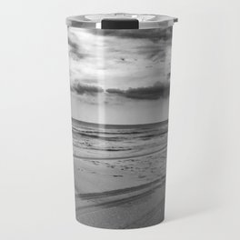 Driving on Assateague Island (Black and White) Travel Mug