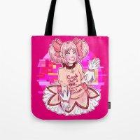 madoka Tote Bags featuring Madoka Kaname by Olivia Dierker