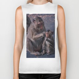 Mother and Baby Macaque Monkey Biker Tank