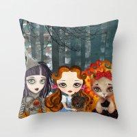 oz Throw Pillows featuring Oz Girls by Sandra Vargas